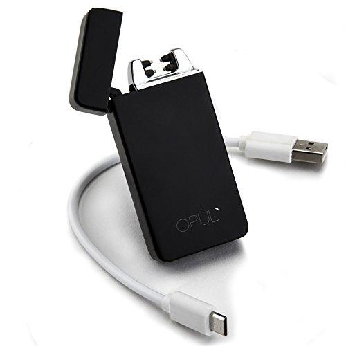 Opul Mechero Electrico - Encendedor Electrico de Doble Arco - Mechero USB Electrico sin Llama - Mechero Tesla Recargable y Resistente al Viento (Acampada) con Cable, Mechero de Plasma Seguro y sin Gas
