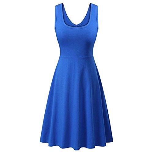 Kart Kostüm Auto Mario - Amphia Damen Ärmelloses Beiläufiges Strandkleid Sommerkleid Tank Kleid Ausgestelltes Trägerkleid Knielang (Blau, M)