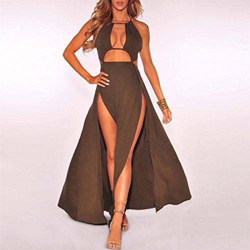 QIYUN.Z Femme Coupe-Cheveux Sexy Sans Coude Club De Nuit Sans Nuque Split Maxi Robe Marron