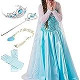 Timesun® Mädchen Prinzessin Schneeflocke Süßer Ausschnitt Kleid Kostüme mit Diadem, Handschuhen, Zauberstab und Zopf, Gr. 98/140 (110 ( Körpergröße 110cm ), #03 kleid mit 4 Zubehör)
