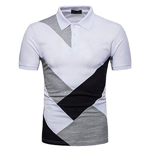 Poloshirts T-Shirts Herren Slim Fit Zauber Farbe Baumwolle Kurzarm Button Kragen Sportlich Outdoor