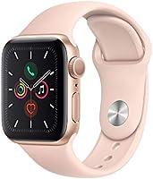 Apple Watch Series 5 (GPS, 40‑mm) kast van goudkleurig aluminium wit rozenkwarts sportbandje