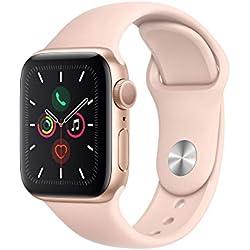 AppleWatch Series5 (GPS, 40 mm) Boîtier en Aluminium Or - BraceletSport Rose des Sables