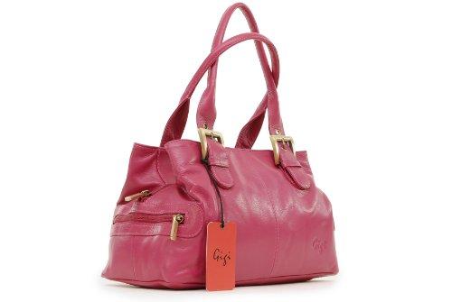 """Handtasche Leder """"Othello"""" von Gigi - GRÖßE: B: 30,5 cm, H: 17,5 cm, T: 13,5 cm Magenta"""
