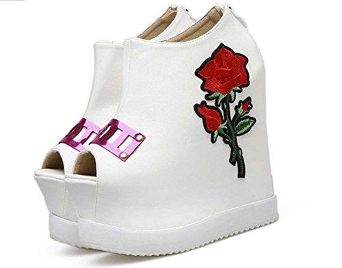 Cuir Wedge Chaussures Peep Toe Décontracté Haut Talon Fleur Couleur Match Cheville Botte Robe De Mariée Chaussures Blanc