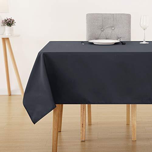 Deconovo Tischdecke Wasserabweisend Tischwäsche Tischtücher 130x160 cm Dunkelgrau