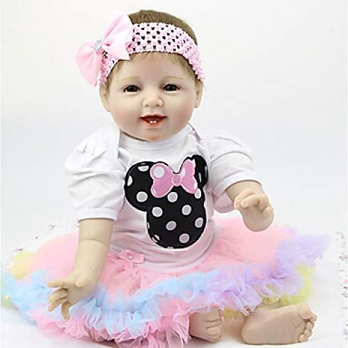 Unexceptionable-Dolls Reborn Doll Baby Boy Baby Mädchen 22 Zoll Silikon-Kids / Teen entzückende schöne Kinder Unisex Toy Geburtstag, Pink_White_Skin (Mädchen Baby Doll Silicone)