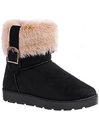 Minetom Donne Stivali Da Neve D Inverno Pelle Scamosciata Del Faux Fur  Scarpe ( Nero 7509c5bdf66