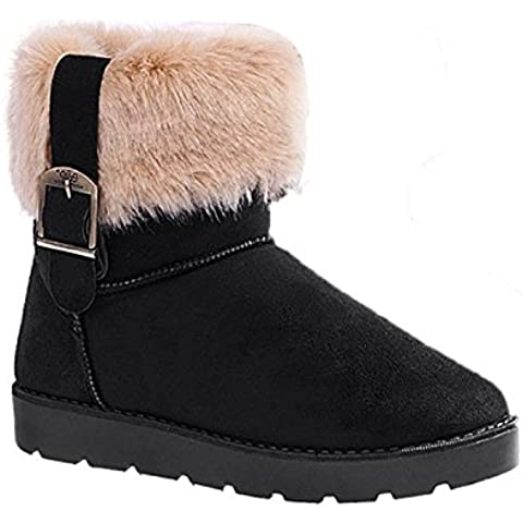 Mytom Mujer Short Classic Faux Suede Fur Invierno Nieve Botas