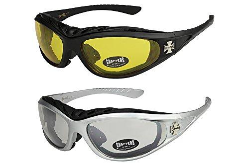 2er-Pack-Choppers-911-Sonnenbrillen-Motorradbrille-Sportbrille-Radbrille-1x-Modell-03-schwarz-gelb-getnt-und-1x-Modell-05-silber-annhrend-transparent