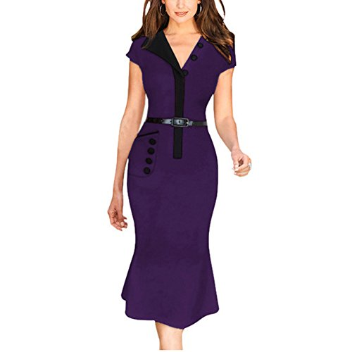 Janecrafts Colorblock V Neck revers Collar Femmes R¨¦tro robe ¨¤ manches courtes Slim sir¨¨ne ¨¦quip¨¦e Parti robe de soir¨¦e Robe patineuse Violet