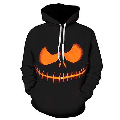 Cardith Halloween Grafik Hoodie, Hoodie 3D Kapuzenpulli Herren Damen Lustige Gedruckte Graphic Pullover Hoodies Sweatshirts Drawstring Taschen mit Samt Plus Futter (Grafik Crewneck Herren T-shirt)
