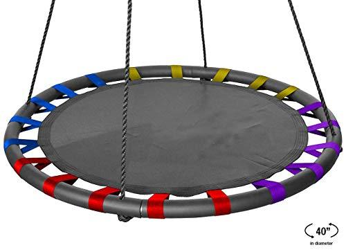 AMHHK Spinner Swing - Kinder Indoor/Outdoor Runde Mat Swing - Ideal Für Baum, Schaukel, Garten, Spielplatz, Spielzimmer - Zubehör Inklusive (40 Zoll, Multi-Color-Mattsitz) (Personen Swing 2 Outdoor)