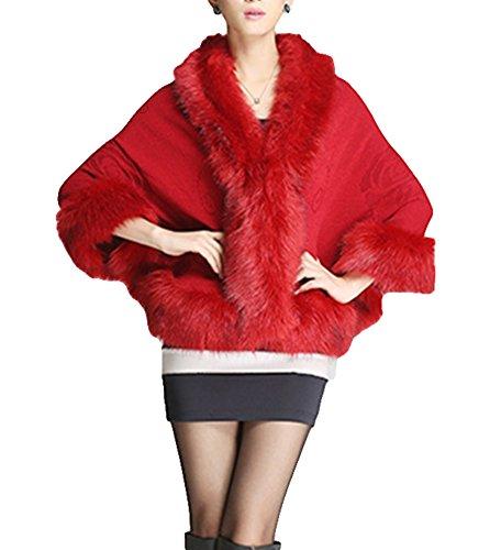 Plaer donne lusso nuziale pelliccia ecologica scialle impacchi mantello cappotto maglione capo (bordeaux)