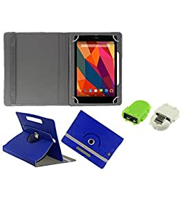 Gadget Decor (TM) PU Leather Rotating 360° Flip Case Cover With Stand For DOMO Slate X2G + Free Robot USB On-The-Go OTG Reader - Dark Blue