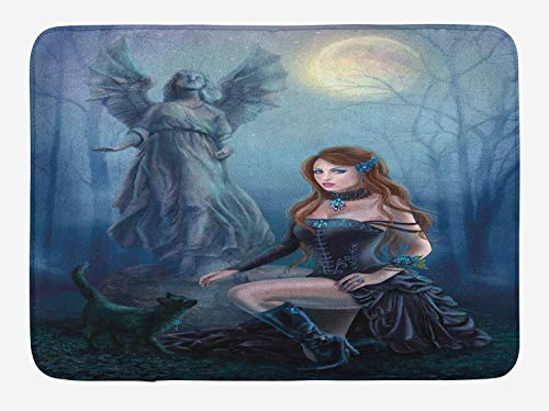 Mat, Fantasy Woman with Black Cat About an Angel Statue Mysterious Woods Gothic Print, Plush Bathroom Decor Mat with Non Slip Backing, 23.6 W X 15.7 W Inches, Multicolor ()