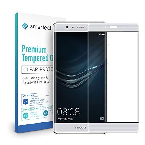 smartect [3D Curved | Blanco] Protector de Pantalla de Cristal Templado para Huawei P9 Lámina Protectora Ultrafina de 0,3mm | Vidrio Robusto con Dureza 9H y Antihuellas Dactilares
