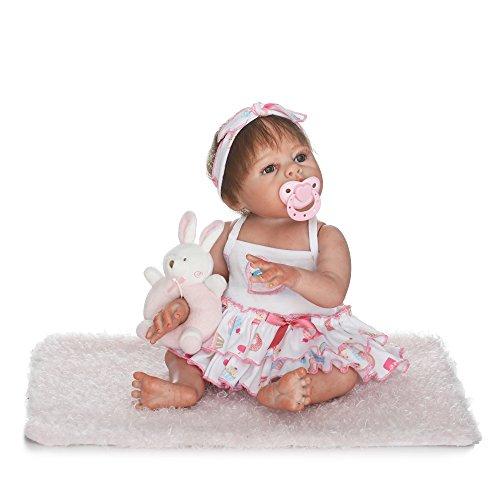 Decdeal Total Silicona Reborn Baby Doll 19 Pulgadas 48cm Muñeca Reborn Real de Bebé Niña Toda Silicona Juguete de Ducha