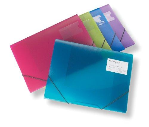 Rapesco - Carpeta de tres solapas A4 y cierre con gomas elásticas,  5 unidades en varios colores traslucidos