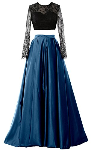 MACloth Elegant 2 Piece Long Sleeve Prom Dress 2018 Formal Party Evening Gown Teal