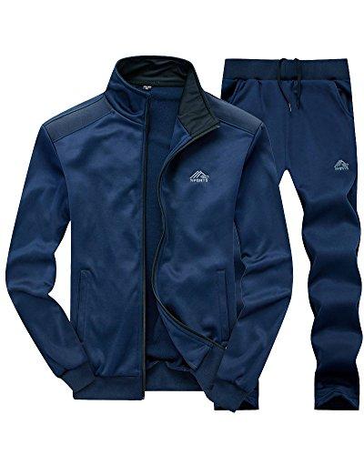 Ensemble De Survêtement pour Homme Survêtement Gym Jogging Suit Joggers Bleu XL