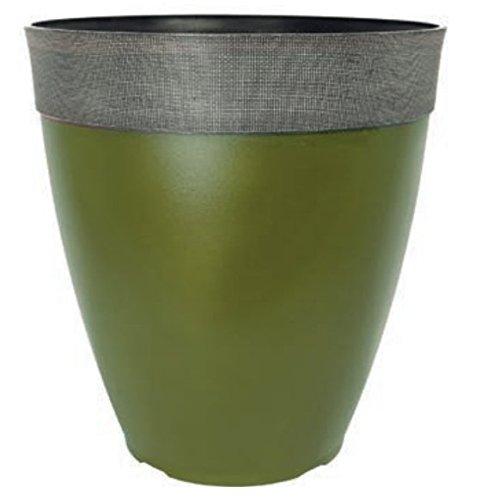 Gala Tall Round 26.4 Litre Large Plant Pot Outdoor Garden Planter (Green Tea)