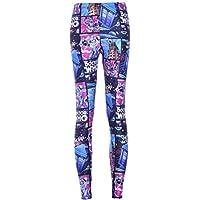 SYPNB Moda para Mujer Pantalones de Cintura Alta a Cuadros cómicas Leggings Apretados apretar Tobillo Pantalones de Fitness otoño