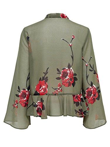 Only Damen Long sleeve Shirt onlGOA L/S TIE TOP AOP WVN Beetle AOP:Mega Flower