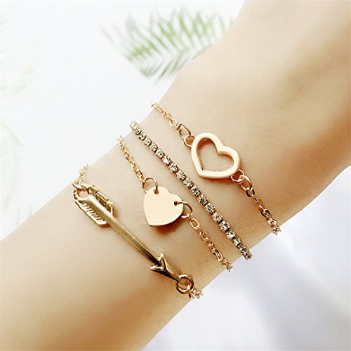 (Faliya 4 Stück Liebe Herz Pfeil Kristall Kette Armbänder Goldton Stapelbar Strang Armreifen Set für Frauen und Mädchen)