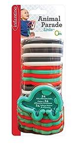 Infantino - Enlaces para Desfile de Animales sin BPA, 24 Piezas para batir y sonajero, Multicolor