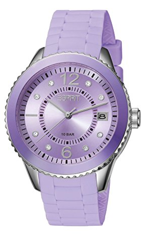 Esprit Marin 68 Pastel Women's Quartz Watch with Purple Dial Analogue Display and Purple Silicone Strap ES105342023