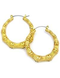 Superbes mini anneaux d'oreilles à texture de style bambou XE1121G-3