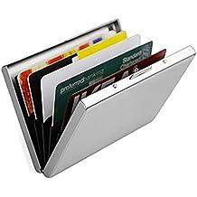 Porta Carte di Credito, Ultra sottile Alluminio Metallo Portafogli RFID Blocking Portafoglio per Uomini & Donne - Best Protector Scheda con 6 slot in PVC e Durevole Acciaio inossidabile chiavistello