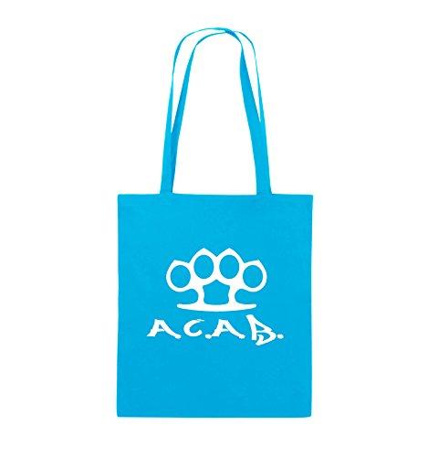 Comedy Bags - A.C.A.B. - SCHLAGRING1 - Jutebeutel - lange Henkel - 38x42cm - Farbe: Schwarz / Silber Hellblau / Weiss