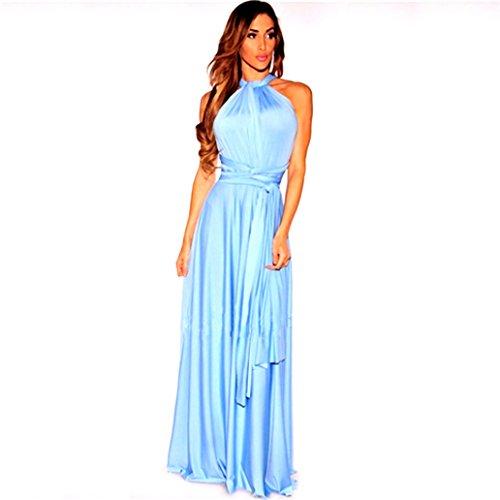 Infinity Kleid, Ballkleid, Brautjungfernkleid, Gr. 34-42 hellblau Wickelkleid lang, 70 verschiedene...
