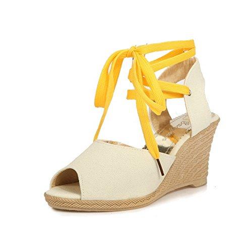 VogueZone009 Donna Allacciare Finta Pelle Scamosciata Tacco Alto Punta  Aperta Heeled-Sandals Beige