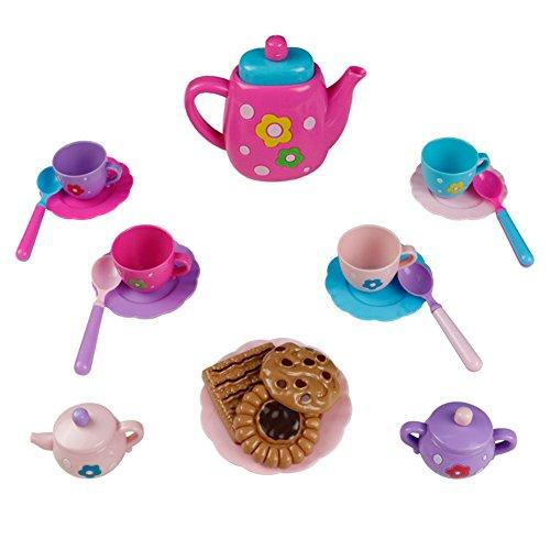 TeesetKinder Teeservice Spielzeug Rollenspiele Kinderküchen Zubehör Geschirr für Mädchen Kinder ab 3 Jahren (22 Teilig)