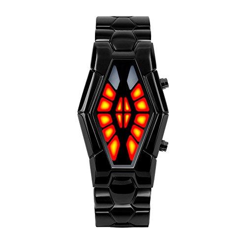 ufengke®Mode cool wasserdicht schlangenförmigen DFÜ Dual Farbe LED Licht boot Animation elektronischer armbanduhren für Männer - Wasserdichte Boot-männer