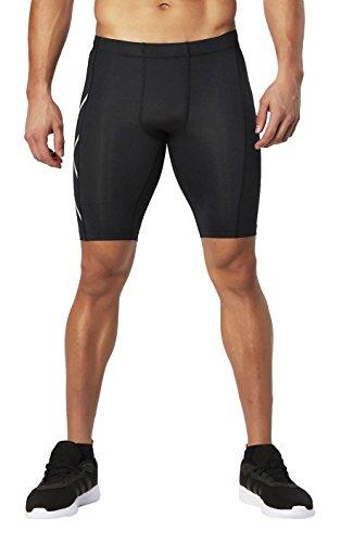 2XU Herren MA3519 Hyoptik Compression Shorts, Black/Silver Reflective, M (Kompressionskleidung Körper)