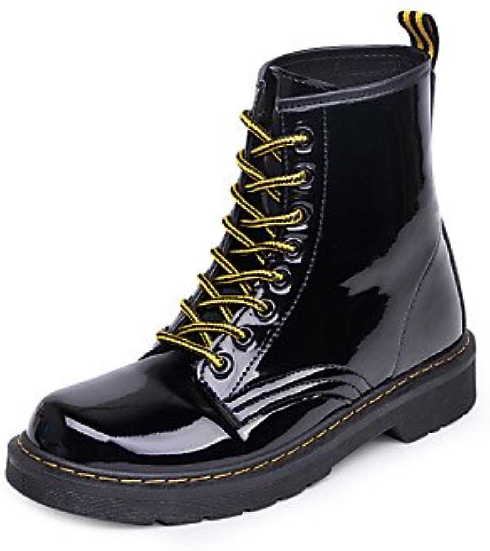 Desy Fall de piel sintética de zapatos de mujer nieve invierno botas de combate botas plano talón ronda Toe Botines...