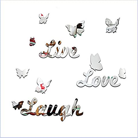 1set/16pcs Acrylic Live Laugh Love Quote Butterfly Mirror Wall Decor Stickers Art DIY Room Decals