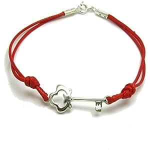 Sterling silber armband Schlüssel mit roter string 925 Empress jewellery