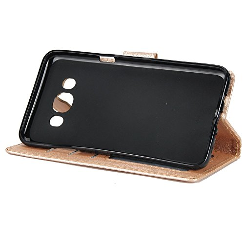 Classic Premiu PU Ledertasche, Horizontale Flip Stand Case Cover mit Cash & Card Slots & Lanyard & Soft TPU Interio Rückseite für Samsung Galaxy J510 ( Color : Wine ) Gold