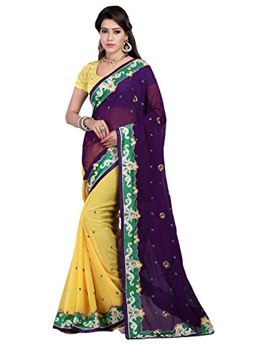 Fliponn Purple & Yellow Color Chifon Embroidery Saree -FNK994SETM-560