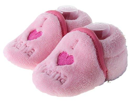 Dantiya Schuhe für 0-18 Monate Baby, Winter-weich Sohle Krippe Warm Knopf Wohnungen Cotton Boot-KLEINKIND prewalker Schuhe (12cm (6-12 Monat), Braun) Pink