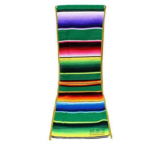 uila Fiesta Serape Tischläufer, 100% mexikanisch, Zarapen-Überwurf, Decke, Tischwäsche Shamrock Green ()