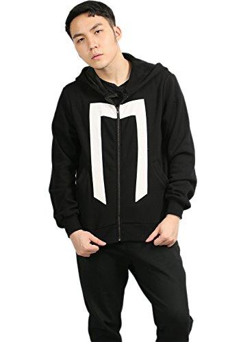 Herren Cosplay Kostüm Schwarz Baumwolle Zip Up Sweatshirt Hoodie Mantel Mit Kapuze Kleidung für Erwachsene