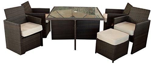 Gartenmöbelgruppe Polywood Rattan Set Cube 9-teilig in braun vier Sessel inklusive Hocker platzsparend unterstellbar inklusive 2 Kissen pro Sessel