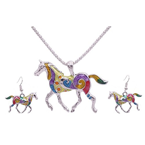 41S46JnOVsL UK BEST BUY #1MESE London Horse Necklace And Earrings Set Silver Plated Pendant   Elegant Gift Box price Reviews uk