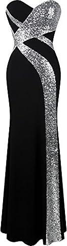 Angel-fashions Femme Sans bretelles Amoureux Sillonner Classique Noir blanc Robe de soiree XLarge